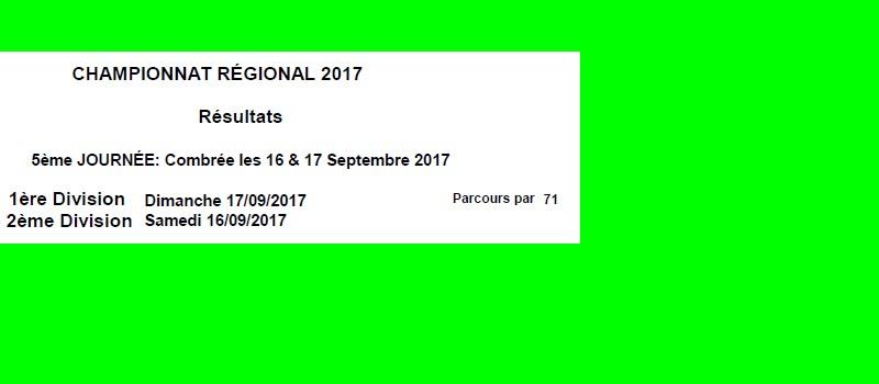 Résultats Chpt régional J5 COMBRÉE
